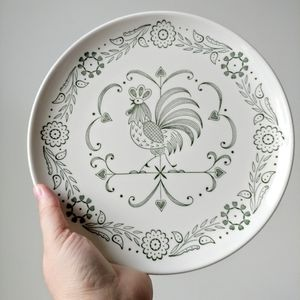 Green And White Rooster And Floral Plate